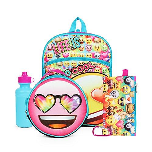 Emoji Yellow Rainbow Hearts Back to School Essentials Set for Girls Backpack