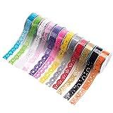 Cinta Decorativa 12 Rollos Washi Tape Transparente Encaje Patrón Colore Cinta Adhesiva DIY Autoadhesivo Cinta de Enmascarar Masking Tape,Hogar Decoración, 39 x 0.7 pulgadas cada uno, Color Fijo