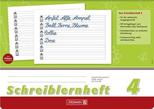 Schreiblernheft 4, A4 quer, 16 Blatt - Brunnen - 10-44 004 - Lineatur 4 / Nr. 4 - mit Rand, Untergrund weiß