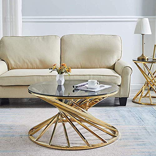 JXJ Circular Living Room Coffee Table Glass Coffee Table Stainless Steel, Round 50 cm,Gold-Round 80cm
