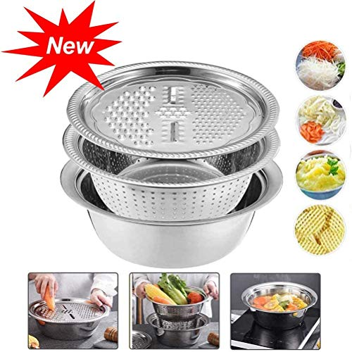 Kitchen Multifunction Graters 4 in 1 Drain Basket Vegetable Cheese Grater with Stainless Steel Drain Basin Fruit Vegetable Bracket Drain Basin Grater Basin for Vegetables Fruits Salad - 3PCS Set