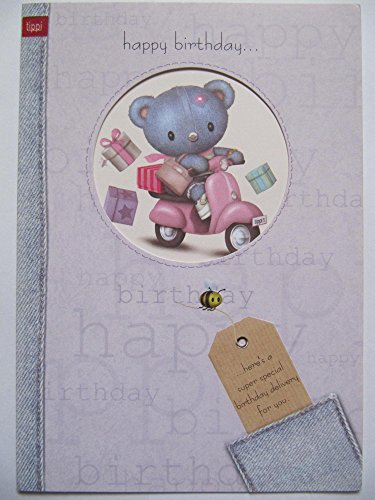 HALLMARK TIPPI TOWN LOVELY TEDDY PINK SCOOTER & PRESENTS BIRTHDAY GREETING CARD