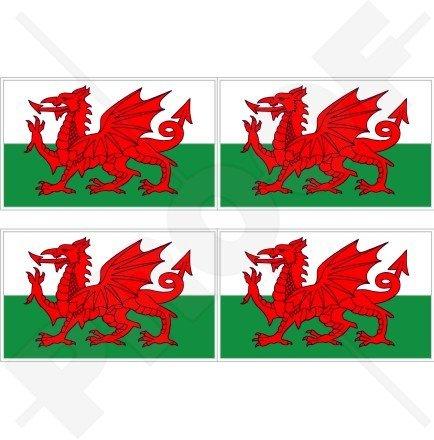 WALES Welsh Flag CYMRU UK 2' (50mm) Vinyl Bumper-Helmet Stickers, Decals x4