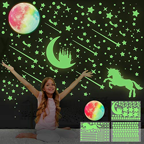 Leuchtsterne Selbstklebend, HOSPAOP Leuchtende Sterne Leuchten im Dunkeln Sternenhimmel Aufkleber Einhorn Leuchtsticker Mond, Schloss Wandtattoo Leucht Wandaufkleber für Jungen Mädchen Kinderzimmer