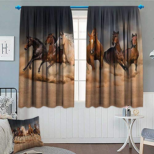 """SeptSonne Horse Country Khaki Patterned Drape for Glass Door Masculine Running Horses Southwestern Gifts for Equestrians Farm Waterproof Window Curtain 52""""x63"""" Brown Charcoal Gray Cream"""