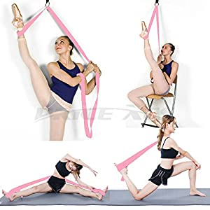 Adjustable Leg Stretcher Lengthen Ballet Stretch Band - Easy Install on Door Flexibility Stretching Leg Strap Great Cheer Dance Gymnastics Trainer Stretching Equipment Taekwondo Training (Pink) by Price Xes
