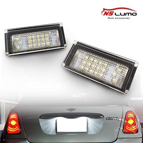 NSLUMO LED Kennzeichenbeleuchtung Glühbirnen Nummernschildbeleuchtung Lampe 3582 SMD mit CanBus Fehlerfrei 6000K Xenon kaltweiß für Mini Cooper R50/R52/R53 usw,2 Stuecke