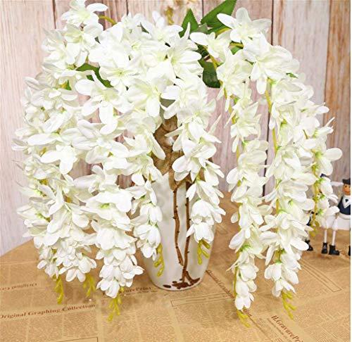 SHACOS 4 Stück Künstliche Blumen weiß Fake Wisteria Blauregen Seidenblumen Künstlich Hängende Kunstblumen Ideal für Hochzeit Haus Dekoration