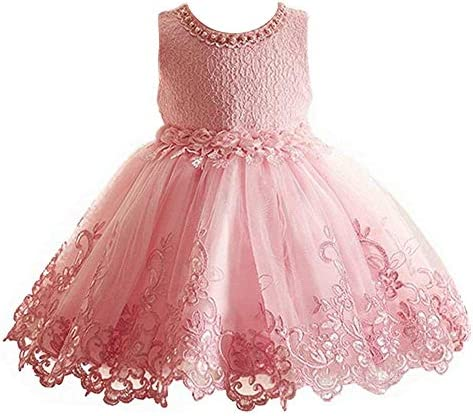 Girls Dresses Princess Lace Flower Wedding Pageant Birthday Party Kids Pink Dress (6 years)