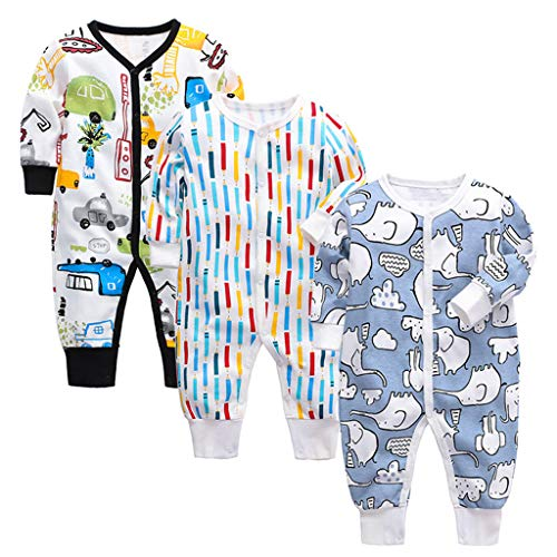 3 Piezas Bebé Mono Mameluco de Manga Larga Niños Niñas Body Peleles Pijama Regalo de Recien Nacido