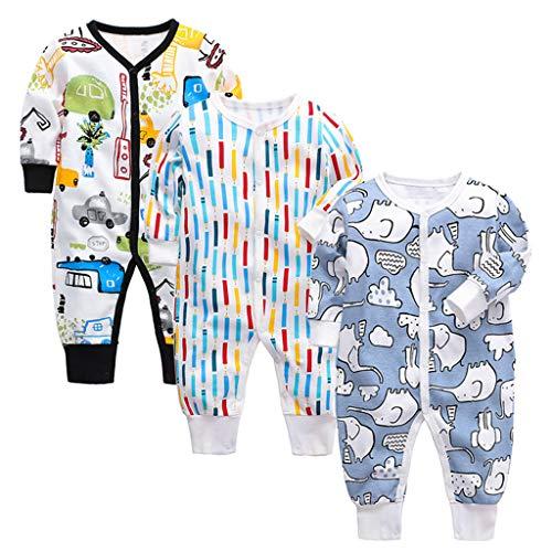 3 Piezas Bebé Mono Mameluco de Manga Larga Niños Niñas Body Peleles Pijama Regalo de Recien Nacido 6-9 Meses