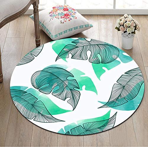 Yang Jingkai Ronde groene bladbedrukking tapijt-woonkamer-computer-stoel-tapijt-kinder-vloer-vloer-vloermatten-kleedkamer-tapijten