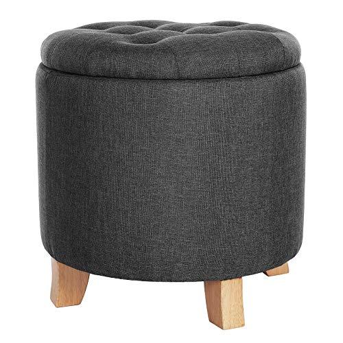 SONGMICS Sitzhocker, runder Hocker mit Stauraum, Fußablage, Aufbewahrungsbox mit Deckel, aus Sperrholz, Füße aus Massivholz, Dekoknöpfe, bis 150 kg belastbar, dunkelgrau LOM012G01