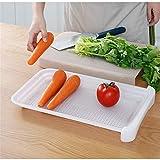Vobajf Tabla de cortar creativa para el hogar, tabla de cortar de doble capa con cajón, tabla de cortar de plástico (color: blanco, tamaño: 24,8 x 40,5 x 3,6 cm)