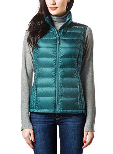 XPOSURZONE Women Packable Lightweight Down Vest Outdoor Puffer Vest Pinegreen Small