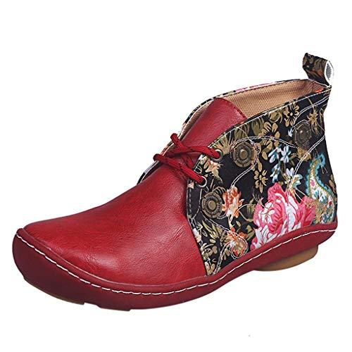 Booties Frauen Retro Leder Flache Schnürung Blumendruck Kurze Runde Zehen Schuhe (39,rot)