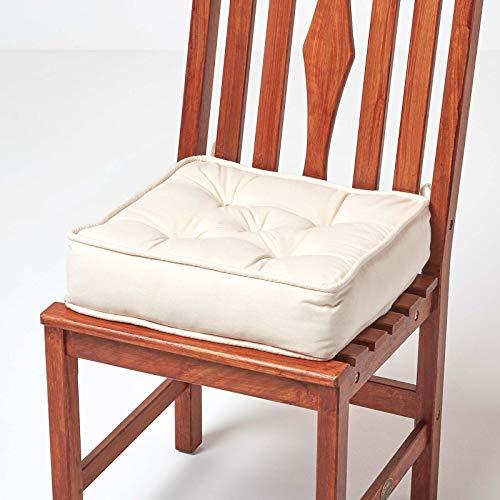 Homescapes orthopädisches Sitzkissen 40 x 40 x 10 cm – extra hoch, mit Bändern, Bezug aus 100% Baumwolle – Sitzerhöhung/Aufstehhilfe, Creme/Natur