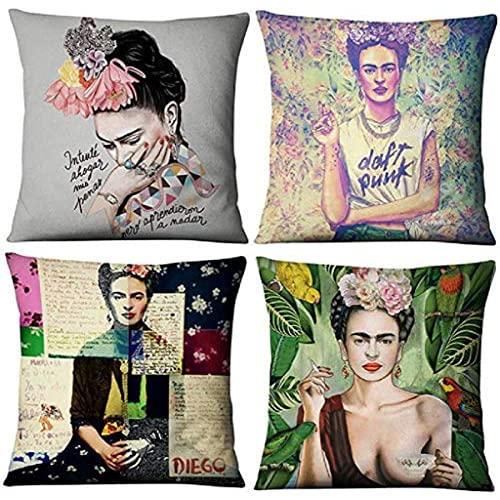 MNBVC 4 Stück Ölgemälde Kissenbezug, geeignet für Frida Kahlo Selbstporträt Auto Baumwolle Leinen Kissenbezug, Kissenbezug, Sofa, Wohnzimmer und Schlafzimmer