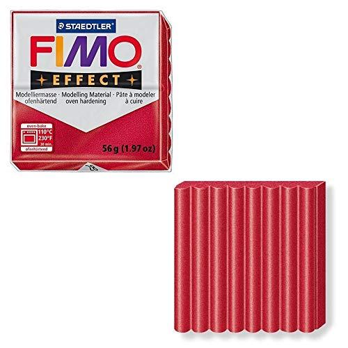 DTM-SOL Fimo-effectpasta kleur robijnrood metallic nr. 28, brood polymeer 57 g om te bakken in de oven