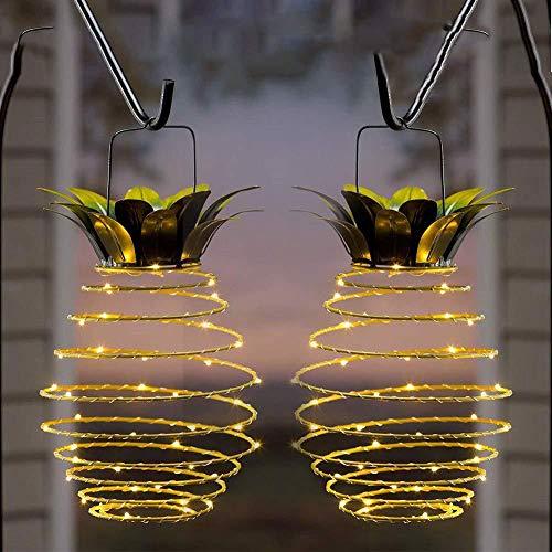 Pineocus Paquete de 2 luces solares de piña, luces solares al aire libre con asa, luces decorativas de piña para jardín, jardín, jardín, patio, porche, camino (blanco cálido)