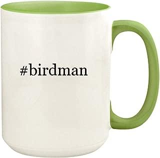 #birdman - 15oz Hashtag Ceramic Colored Handle and Inside Coffee Mug Cup, Light Green