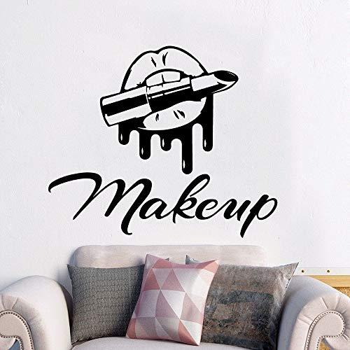 wZUN Lippenstift Make-up Wandtattoos Schönheitssalon Aufkleber nach Hause und Schönheitssalon Art Deco 57x47cm
