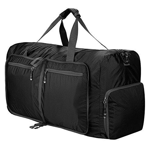 Reisetasche Groß Leichte Faltbare 85L Reisegepäck Duffle Taschen Weekender Übernachtung Taschen Reisetasche Sporttasche für Herren Damen Sport Reisen Gym Urlaub (Schwarz)