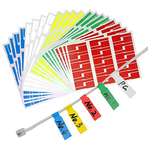 YOTINO 600er Selbstklebend Kabeletiketten, 5 Farben sortiert(Jeder Farbe 120 Stück) UV-beständige, Wasserdicht, Reißfest, Haltbar