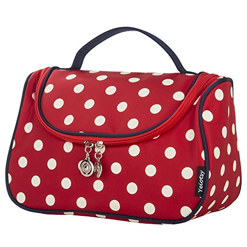 Travel Makeup Bag Cute, Yeiotsy Stylish Polka Dots Cosmetic Bag for Women Hanging Toiletry Bag Organizer (Classic Red)