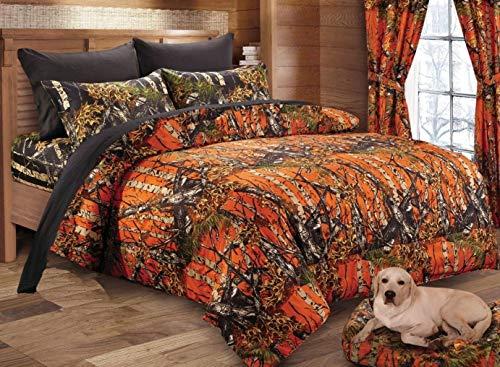 Regal Comfort The Woods Orange Camouflage Premium Luxury Queen Comforter Camo Bedding Set for Hunters Cabin or Rustic Lodge Teens Boys and Girls
