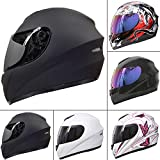 Leopard LEO-819 Full Face Motorbike Motorcycle Helmet Road Legal + Free Extra Dark