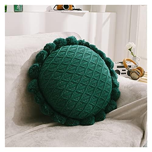 JSJJWSX Almohadas y cojines de 50 cm de punto suave redondo Futón Mat Home Dormitorio Salón Decoración Foto Props (Color: Verde)