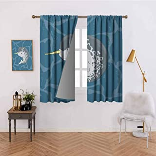 Godves Curtains for Windows Happy Arctic Ocean Whale with Horn Swimming in The Sea Cartoon Style Animal Drawing with Beautiful Patterns W84 x L72 Inch