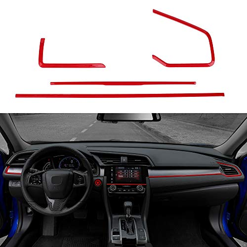 Thenice 4pcs Center Consoles Panel Stickers Dashboard Trims Strips Inner Decals for 10th Gen Honda Civic 2019 2018 2017 2016 -Red