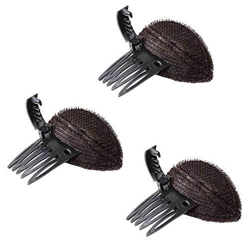 3/5 Pcs Perfect Puff Hair Head Cushion - Invisible Fluffy Princess Styling Insert Hair Sponge Pad, Bump It Up Volume Hair Base Hair Clip, for Women (3 Pcs, Brown)