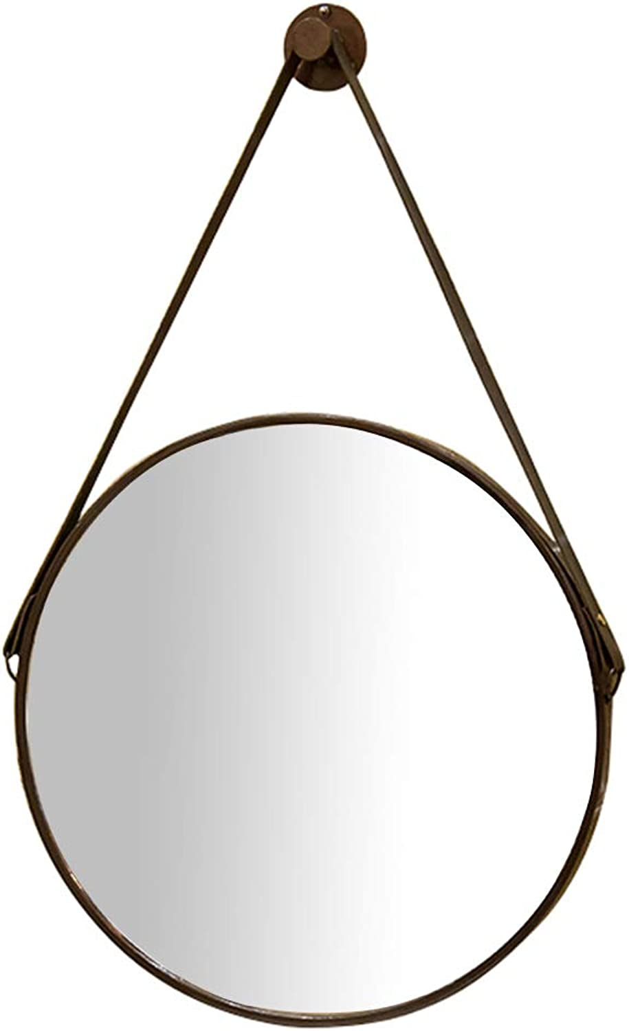Wall Mirror, Round Vanity Mirror with Brown Leather Hanging Strap Wall Mount Makeup and Shaving Mirror, Large Circle Bathroom Decorative Wall Mirror