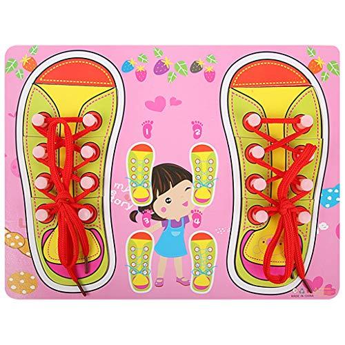 Puzzles Spielzeug Frühe Bildung Lehrmittel Montessori Schnürsenkel Schuhe Schuhe Threading Brett 3-7 Jahre alt Kinderspielzeug Brainteaser (Color : C)