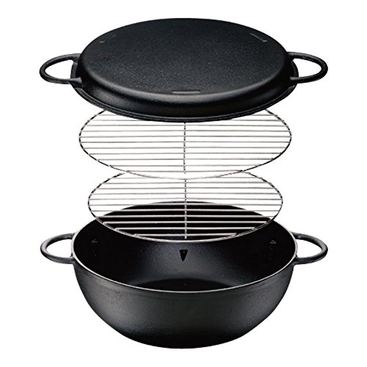 帳面口述するバリケードイシガキ産業 IH対応鉄人鍋 ブラック 33cm 燻製料理 煮込み料理に ほっこりした焼き芋作りに