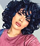 Short Curly Wigs for Black Women Vvgymmo 14'' Natural Black Curly Afro Kinky Hair Wig with Bangs Soft Bouncy Synthetic Wigs with Cap for Daily Party P118