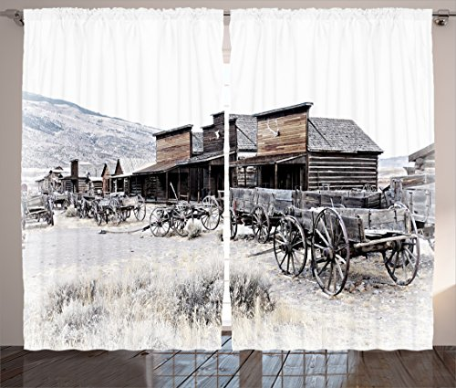 Ambesonne Western Curtains, Old Wooden Wagons from 20's in Ghost Town Antique Wyoming Wheels Artwork Print, Living Room Bedroom Window Drapes 2 Panel Set, 108