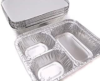 Disposable Aluminum 3 Compartment T.V Dinner Trays with Board Lid #210L (25)