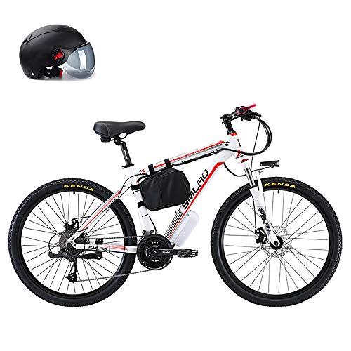 48V 500W Bicicleta Plegable Eléctrica Bicicleta De Ciudad De Suspensión Completa, Material De Acero con Alto Contenido De Carbono, 26 Pulgadas Batería De Litio Extraíble,Blanco,8AH