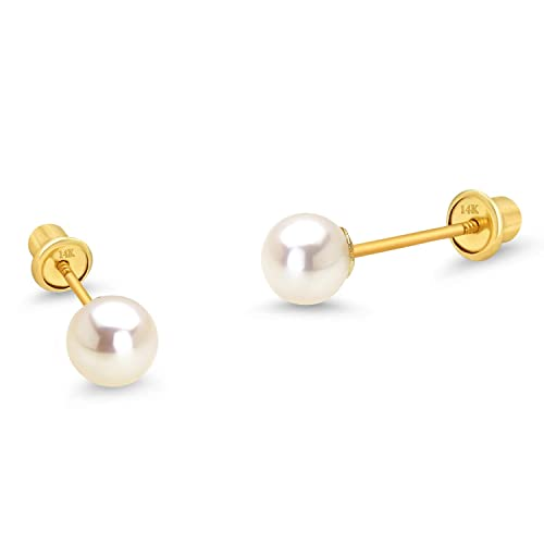 b8eaf3c52 14k Yellow Gold 4-6mm Simulated Pearl Children Screw Back Baby Girls  Earrings