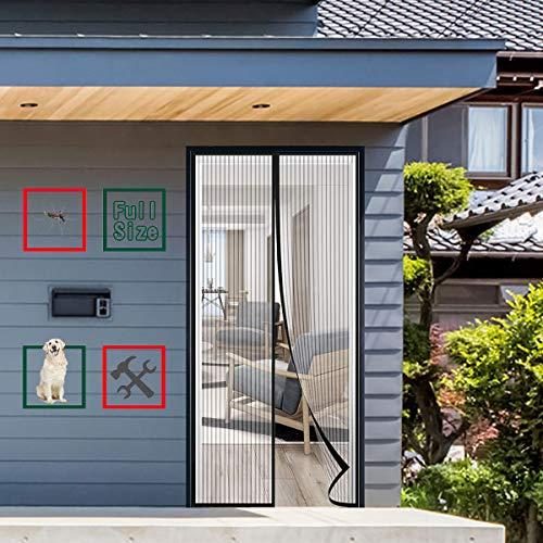 GUOGAI Mosquitera Puerta Magnetica 150x210cm(59x83inch) Mosquitera Magnética Evita el Paso de Insectos con Durable para Puertas Correderas, Negro A