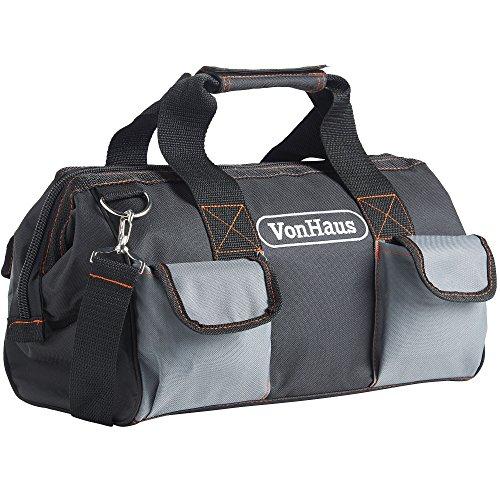 VonHaus 15' Tool Bag Organiser for Hand/Power Tools Large with Internal & External Pockets, Shoulder Strap & Zip Fastener