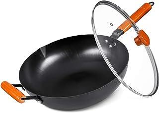 SKY LIGHT Wok avec Couvercle, Induction sans Produits Chimiques 32,5 cm, 100% Acier au Carbone, Pot en Fer avec poignée en...