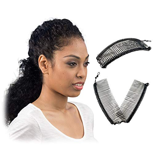 Banana Hair Clip for Thick Curly Hair - Stretch & Adjust, Comfy, Damage & Crease-Free All-Day Hold for Heavy Hair, Updo's in Seconds - Easy UpDo's, Fro-Hawks, Ponytails (Black Satin Cord w/Bar Closure)