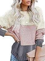 Zereesa Damen Strickpullover Farbblock Pullover Oversize Sweatshirt Casual Sweater Winter Strickpulli Langarmshirt...