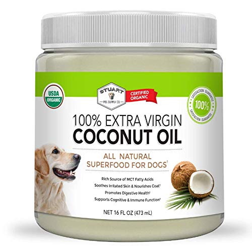 Stuart Pet Supply Co. Coconut Oil for Dogs (16oz) Certified Organic Extra Virgin Superfood Supplement | Anti Itch & Hot Spot Treatment | Dry Skin on Elbows & Nose | Natural Digestive & Immune Support