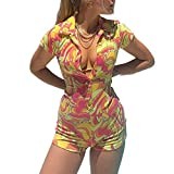 Short Sleeve Jumpsuit for Women Bodycon Sexy V Neck Buttons Rompers Shorts Knitted One Piece Bodysuit Overall( Print Red Yellow,S)